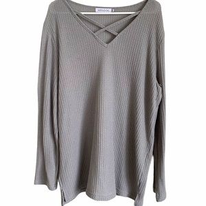 MISTOOK   Gray Long Sleeve Blouse 3X